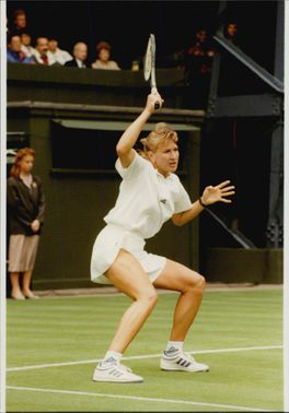 Steffi Graf during the win match against Sabine Appelmans in the Wimbledon Championship