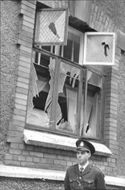 First police constable Uno Lignell keeps guard on Spannmålsgatan at Gothenburg Scream My Lens headquarters after the explosion of explosives