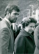 The Queen with her second son, 23 years old Prince Andrew, photographed at Scrabster during a Royal family summer cruise through the Western Isles.