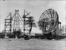 The world's largest mobile radar telescope being built in the picture is one of the smaller reflectors.