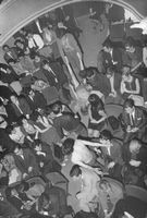 Stage performers took their acting off-stage as audiences seem to enjoy the play.  - 1965