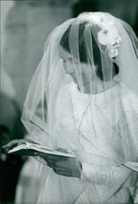 Marielle Goitschel wearing wedding gown. 1966