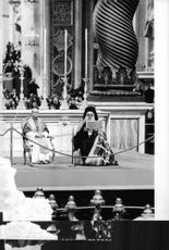 Pope Paul VI sitting in historical place.