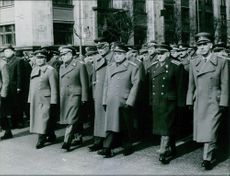 Rodion Malinovsky is with other officers marching. 1940