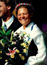 Crown Princess Victoria laughs smoothly while the birthday song is performed during her 20th birthday at Solliden.