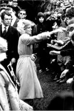 Princess Diana greets the residents during her visit to Swansea.