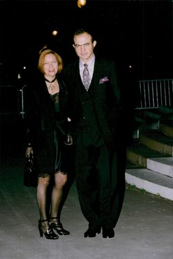 Portrait image of Christian Lacroix and his wife taken in conjunction with a gala dinner organized by Princess Diana.
