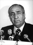 Close up of  Iranian civil rights lawyer, opposition leader and a former bureuacrat Hasan Nasih, while delivering his speech