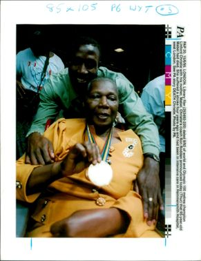 Linford Christie with his mother.