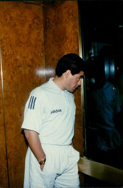 Diego Maradona in the elevator at the Sheraton Park Central hotel on the way to a press conference