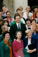 Tony Blair poses with 96 of the 101 newly elected female Labor politicians