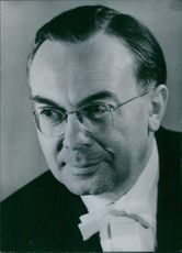 Portrait of East German personality Dr. Hans Pischner, 1963.