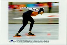 Winter Olympics in Nagano 1998. Speed ??Skating. Gianni Romma is about to set new world record