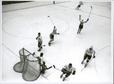 Ice hockey player Sven Tumba scored during the ice hockey match Sweden-CSSR during the Winter Olympics in Innsbruck in 1964