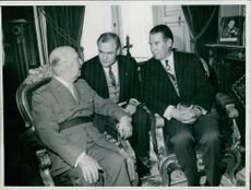 Generalisimo Franco having a discussion with  Dr. Schroeder and visiting German Minister of Foreign Affairs.