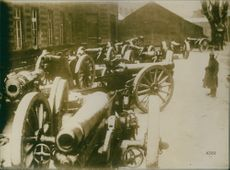 Vintage photo of military canons used during the World War I. Photo taken between November to December 1917.
