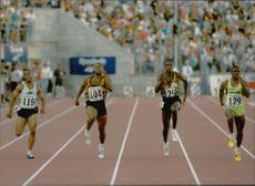 Goodwill Games Saint Petersburg. 100m race, fr. V. Andre Cason, Leroy Burrell, Carl Lewis and winner Dennis Mitchell