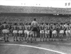 Italian Football National Team posing for the photographers.