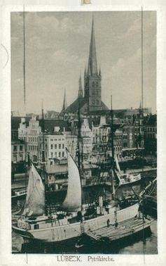 Postcards: The port and Petrikyrkan in Lübeck