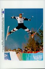 Jonny Moseley, USA, during freestyle skiing mogul events, at the Winter Olympics in 1998.