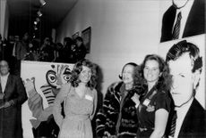 Kerry Kennedy and Mary Kennedy at an art show signed by Andy Warhol.