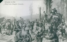 A painting of German soldiers, during the war, 1914.