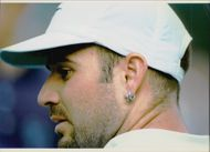 American tennis player Andre Agassi during Wimbledon 1996