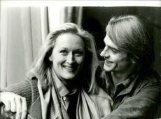 "Actors Meryl Streep and Jeremy Irons in London premiere of the movie ""The French Lieutenant's Woman"""