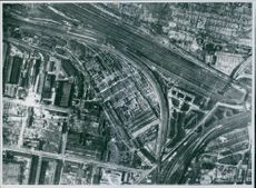 The devastation caused among railway workshops at the Templehof Marshalling Yards during Tyskland War.