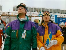 King Carl XVI Gustaf and Crown Princess Victoria at the ski race in Åre