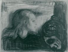 "Edvard Munch, ""The sick child"" lithographic chalk"