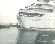 "The ferry ""Stena Olympica"" smashes the little vessel soon after the landing stage.  Taken - Circa 1976"