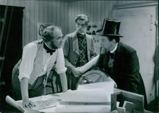 Victor Sjostrom, Alf Kjellin and Ivar Kage in a scene from the film John Ericsson - segraren vid Hampton Roads (John Ericsson - winner of Hampton Roads), 1937.
