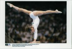 American gymnast Domenique Mocenau during the 1996 Olympic Games