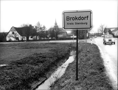 The entrance to the city of Brokdorf where a nuclear power plant will be built