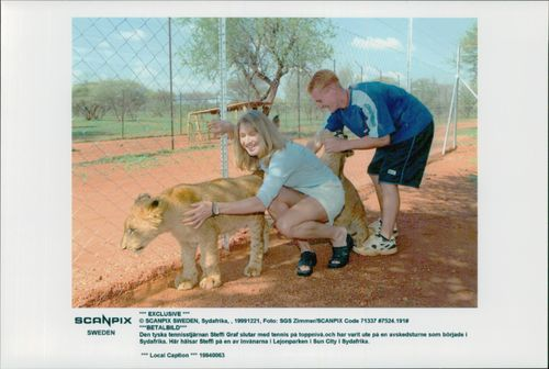 German tennis player Steffi Graf in South Africa greets the Lion Park