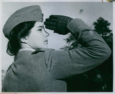 Sgt. Major Annie Lake making a salute. 1942.