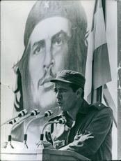 Major Rogelio Acevedo delivering his speech. 1973.