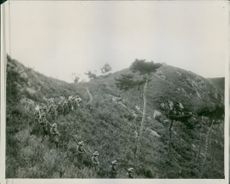 Japanese soldiers having a field day in the hills. 1933