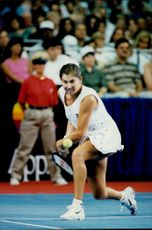 Monica Seles plays in a match against Martina Navritalova in Atlantic City