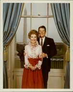 US President Ronald Reagan and his wife Nancy in the White House