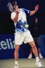 Thomas Enqvist during the match against Hendrik Dreekmann in the Stockholm Open.