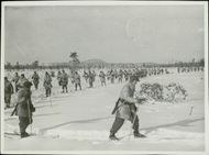 Swedish Volunteer Corps marching on the snowy ground during the Winter War. 1940