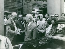 Stylianos Pattakos being welcomed by the people during an event, 1967.