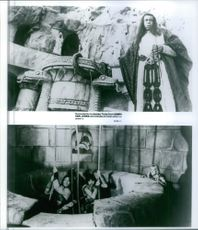 Photos of James Earl Jones, Arnold Schwarzenegger, Gerry Lopez and Sandahl Bergman in the 1982 film Conan the Barbarian.