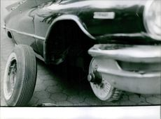 Tire of vehicle removed from the car. 1963
