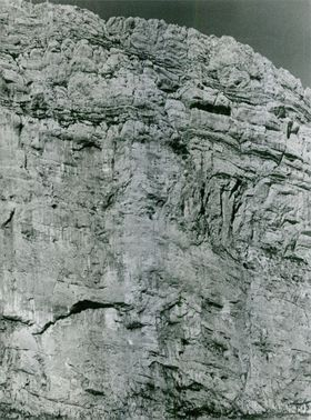 View of rugged cliff.