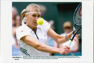 Steffi Graph in action in Wimbledon