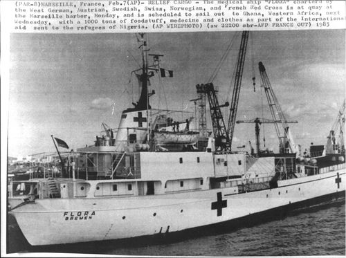 The medical Flora ship ready to sail to Ghana loaded with food and supplies to refugees