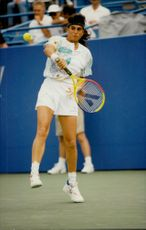 Argentine tennis player Gabriela Sabatini in match against Meredith McGrath in the US Open